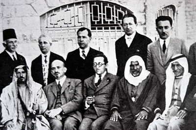 Chaim Weizmann (sitting, second from left) at a meeting with Arab leaders at the King David Hotel, Jerusalem, 1933. Also pictured are Haim Arlosoroff (sitting, center), Moshe Shertok (Sharett) (standing, right), and Yitzhak Ben-Zvi (standing, to Shertok's right). Chaim Arlosoroff.jpg