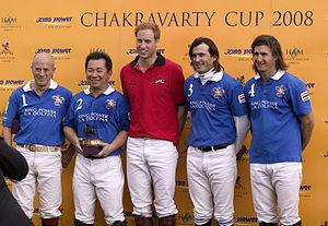 Ham Polo Club - Chakravarty Cup Presentation: Paul Barry, Vichai Raksriaksorn, HRH Prince William, Adolfo Cambiaso and Martin Valent.
