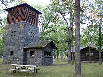 Charles A. Lindbergh State Park - Water tower and picnic shelter, constructed 1938