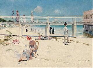 <i>A holiday at Mentone</i> painting by Charles Conder