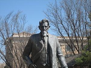 Panhandle–Plains Historical Museum - Statue of legendary cattleman Charles Goodnight outside the Panhandle-Plains Historical Museum in Canyon.