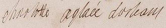 Charlotte Aglaé d'Orléans - Image: Charlotte Aglaé d'Orléans signature