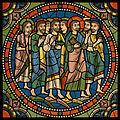 Chartres VITRAIL DE LA VIE DE JÉSUS-CHRIST Motiv 22 Les Rameaux - groupe d'apôtres suivant Notre-Seigneur.jpg