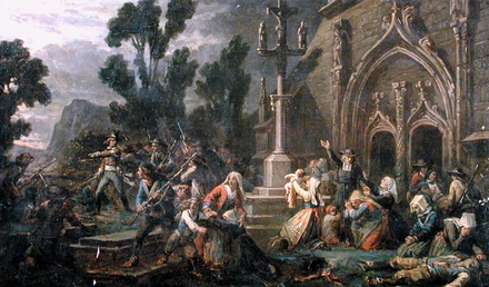 Peasants and commoners (insurgent royalists or Chouans) in the Vendee, Maine, the south of Normandy or the eastern part of Brittany defending a Catholic church. Artist unknown Chouans in the Vendee.png