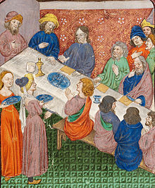 Christ and disciples at table in the house of Symeon the leper, with Mary Magdalen and Martha serving (f. 14) Cropped.jpg