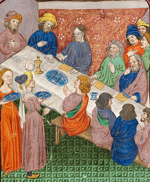 Simon the Leper - Christ and disciples at the table in the house of Simon the Leper, with Mary Magdalen and Martha serving