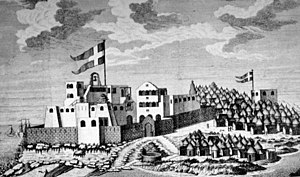 Danish Gold Coast - A contemporary drawing of the Danish colonial fort, Fort Christiansborg, now Osu Castle. The outpost to the right is Fort Prøvestenen.