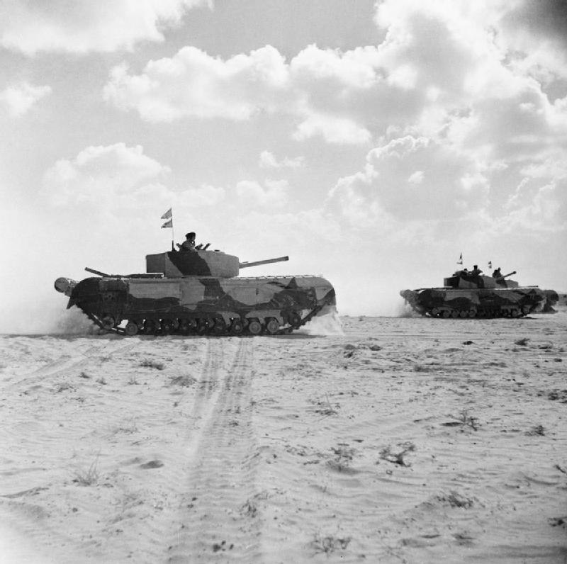 Churchill III tanks of 'Kingforce', 1st Armoured Division, in the Western Desert, 5 November 1942. E18991