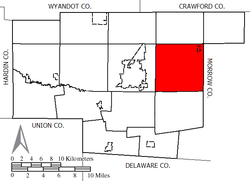 Location of Claridon Township in Marion County