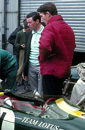 Jim Clark - Clark outside the Lotus garage at the Nürburgring in 1966
