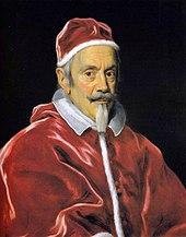 Clemens X. auf einem Gemälde von Giovanni Battista Gaulli