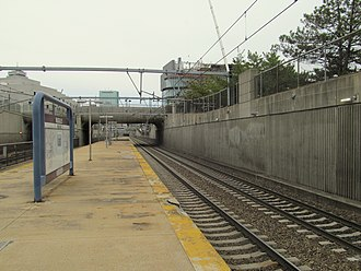Ruggles station - The deteriorated and closed northern half of the existing commuter rail platform, and the planned location of the second commuter rail platform, in 2015