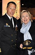 Cmdr. F. Curtis Jones and Secretary Hillary Clinton
