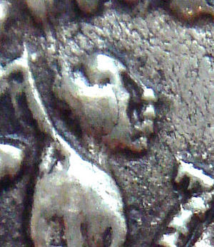 Azes I - Coin of Azes I, portrait of the king (detail).