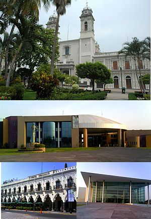 Colima City - From top left: Basílica Menor, Complejo Administrativo, Hotel Ceballos, University Hall