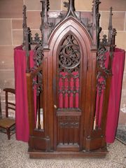 Traditional confessional in Saint-Thiébaut Church, Thann, France