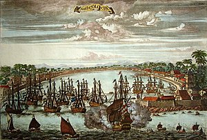 Western imperialism in Asia - Colombo, Dutch Ceylon, based on an engraving of circa 1680