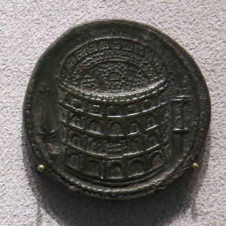 Colosseum - Sestertius of Titus celebrating the inauguration of the Colosseum (minted 80 AD).