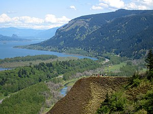 Looking east up the Columbia River Gorge, from...