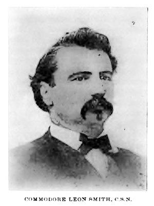"Leon Smith (naval commander) - Photo Leon Smith as published in governor Lubbock's memoirs Six Decades in Texas (1900). The caption reads ""Commodore Leon Smith, C.S.N"", however Smith was never officially in the confederate navy, and while described variously as a naval lieutenant, captain, and commodore or army major, and colonel, he was not actually a commissioned by either army or navy."