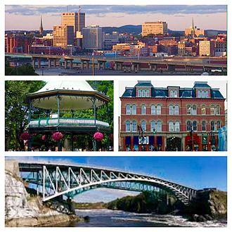 Saint John, New Brunswick - Clockwise: Uptown Saint John, City Market, Reversing Falls Bridge, and King's Square Bandstand