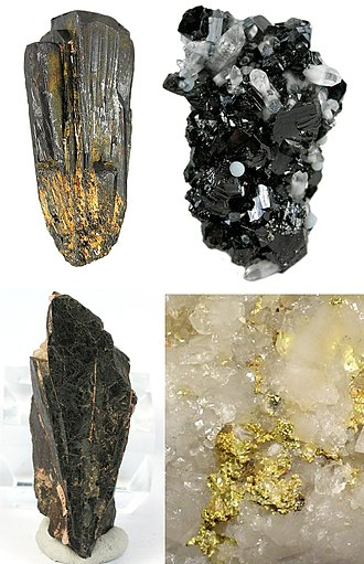 Conflict resource - Four common conflict minerals, clockwise from top left: coltan, cassiterite, gold ore, and wolframite.