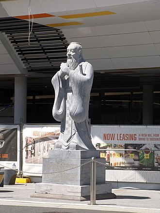 Chinatown, Gold Coast - Confucius statue in Young Street, 2015