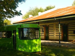 "TecnoTren - Original first prototype (named ""microtren"") at Bavio station of Roca Railway."