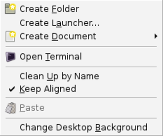 Context menu - GNOME context menu