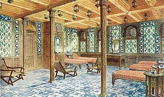 First class facilities of the RMS Titanic - Cool Room in the Turkish Baths on the RMS Olympic
