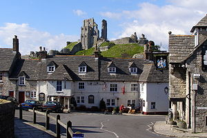 Corfe Castle and Greyhound Inn, Corfe Castle v...