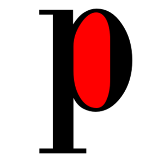 "Counter (typography) - The counter of the letter ""p"" shown in red"