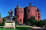 Statue of Fame in entrance courtyard at Powis Castle
