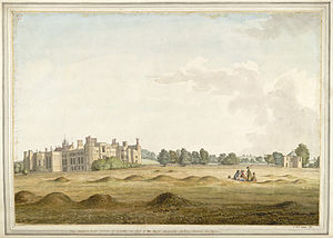 Midhurst - Cowdray House by Samuel Hieronymus Grimm 1781, from site of modern Polo Ground. St. Ann's Hill is in background, just to right of the House.