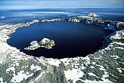 An aerial View of Crater Lake in Oregon