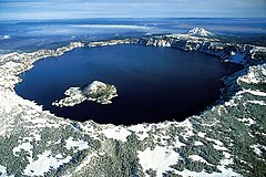 Crater Lake - Aerial view; note Wizard Island against the western rim