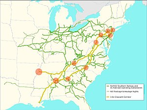 Crescent Corridor - NS Crescent Corridor. Pink dots are current or future Intermodal terminal of focus for expansion.