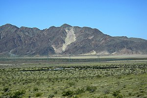 Interstate 15 in California - Cat Dune sand ramp, Cronese Mountains, southwest of Baker, California.