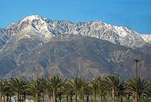 A view of Cucamonga Peak from Victoria Gardens.