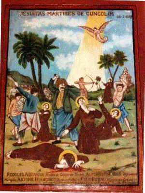 Rodolfo Acquaviva - A 17th-century painting in a church in Colva depicting the massacre of the five Jesuits in Cuncolim, Goa on 25 July 1583. Acquaviva in the center uncovering his neck.
