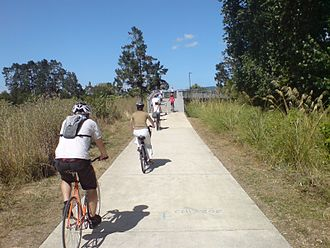 Project Twin Streams - Cyclists on the walk- and cycleway.