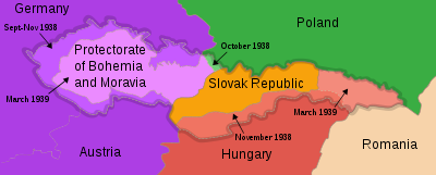 Color-coded map of Czechoslovakia
