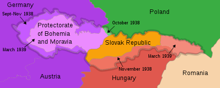 The partition of Czechoslovakia after Munich Agreement Czechoslovakia 1939.SVG