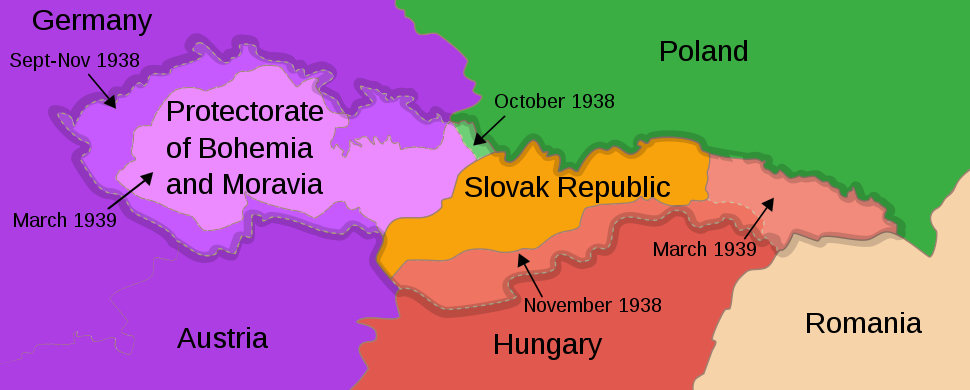 Териториална подялба на Чехословакия, 1938– 39