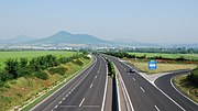 EU funds finance infrastructure such as this motorway Prague-Berlin (Lovosice), Czech Republic
