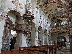 D-7-79-184 7 Moenchsdeggingen Klosterkirche Mittelschiff-mit-Kanzel-gegen-Nord 23.jpg