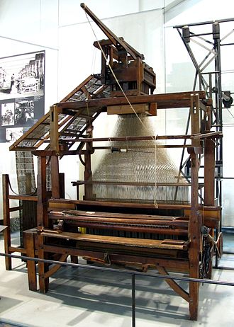 Punched card - Carpet loom with Jacquard apparatus by Carl Engel, around 1860. Chain feed is on the left.