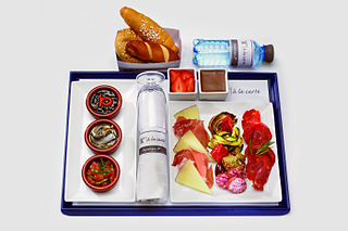 Airline meal meal served to passengers on board a commercial airliner