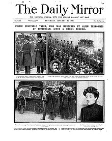 Four photographs under the newspaper's title. The pictures show: 1. The commissioner of police and a minister in the Home Office. 2 and 3. The hearse being loaded and in procession. 4. Constance Tyler's widow.