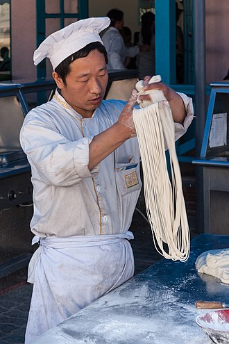 Noodle - Traditional noodle making involving hand-pulling in Dalian, China